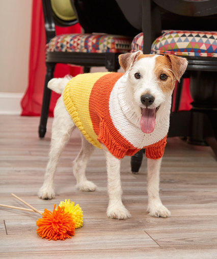 Candy Corn Dog Sweater Free Knitting Pattern