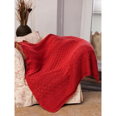 Caron Lace Panel Throw Free Intermediate Knit Pattern