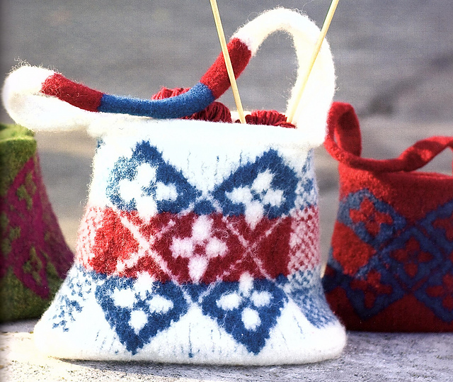 Celtic Flower Bag Felted Free Knitting Pattern