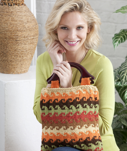 Color Waved Knit Bag Free Pattern