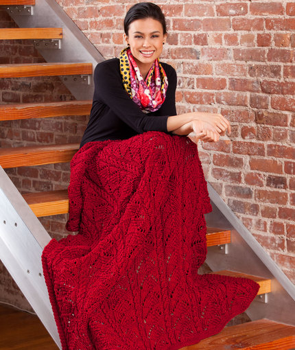 Fans and Cables Throw Free Knitting Pattern