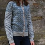 Free Knitting Cardigan with a Dutch tile pattern