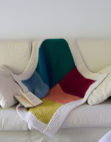 Garter squares knit blanket free pattern