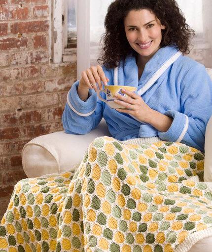Honeycomb Throw Free Intermediate Knitting Pattern