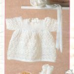 Lacy dress Bonnet and bottees knit pattern