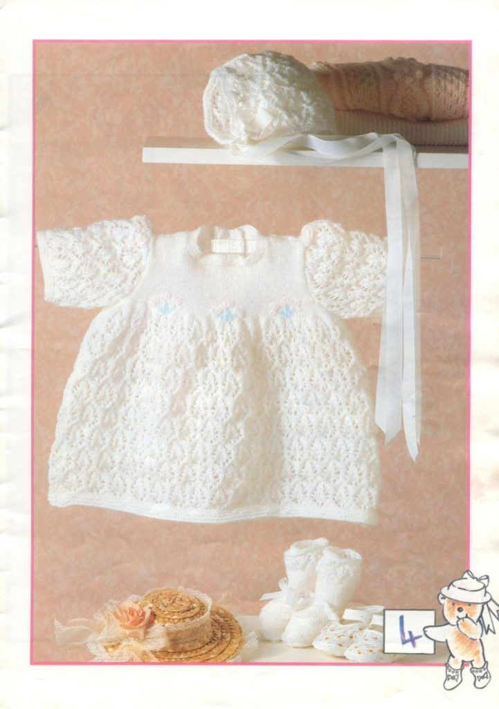 lacy-dress-bonnet-and-bottees-knit-pattern