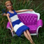 Navy dress for Barbie doll free knit pattern