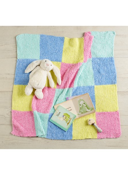 Nippers Checkerboard Baby Blanket Free Knitting Pattern