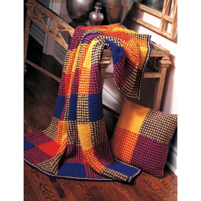 Patons Boldly Colored Plaid Afghan Free Easy Knit Pattern