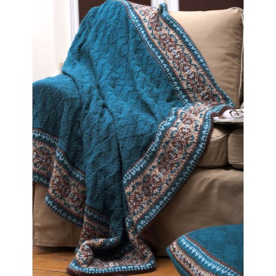Patons Fair Isle Border Blanket and Pillow Free Easy Knit ...