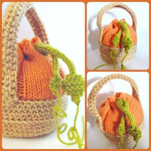 pumpkin favour bag free halloween knitting pattern - Free Halloween Knitting Patterns