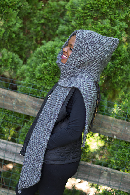 Quarry Hood Garter Stitch Scarf Free Knit Pattern
