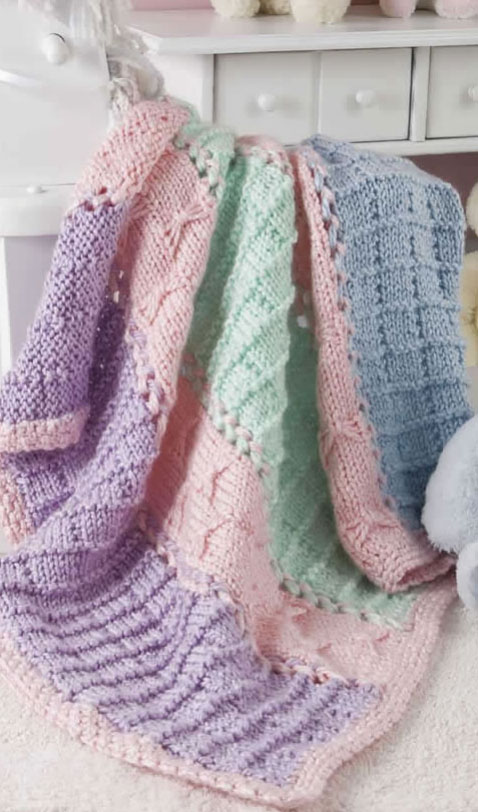 Quick Knit Panels And Bows Free Baby Blanket Knitting Pattern