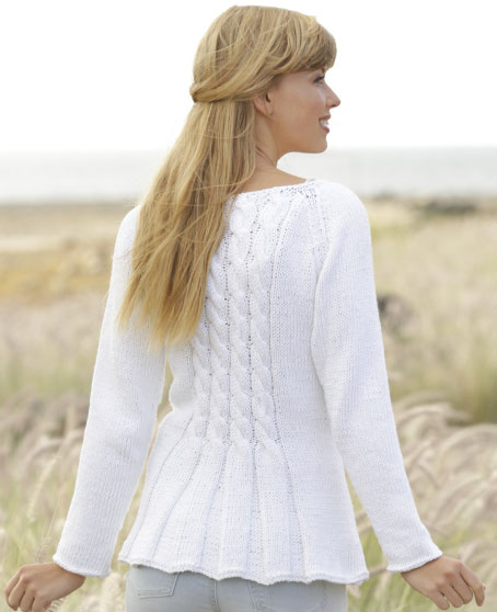 Romantic Twist Free Cable and Peplum Cardigan Knit Pattern