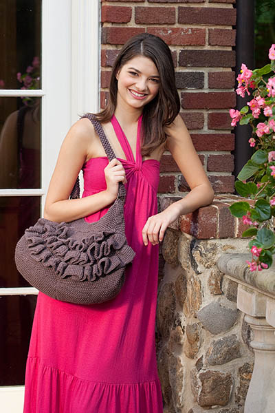 Ruffled Shoulder Bag Free Knitting Pattern