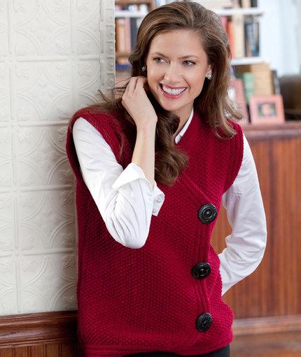 Side Buttoned Vest Free Knitting Pattern
