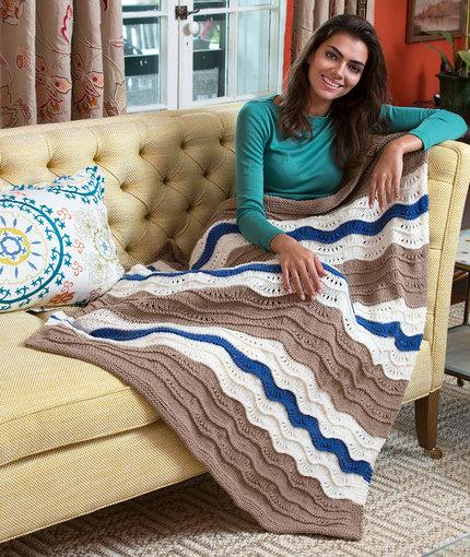 Stitch a Hug Waves Throw Free Knitting Pattern