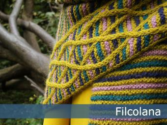 Striped and Cabled Shawl Free Knitting Pattern 1