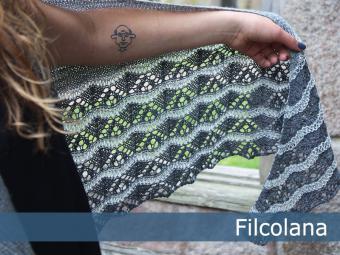 Three coloured lace shawl free knit pattern 1
