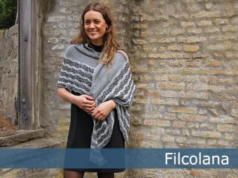 Three coloured lace shawl free knit pattern