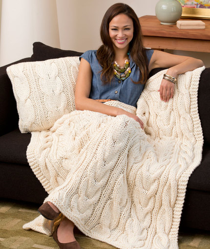 Twisted Taffy Free Cabled Pillow & Throw Knitting Pattern