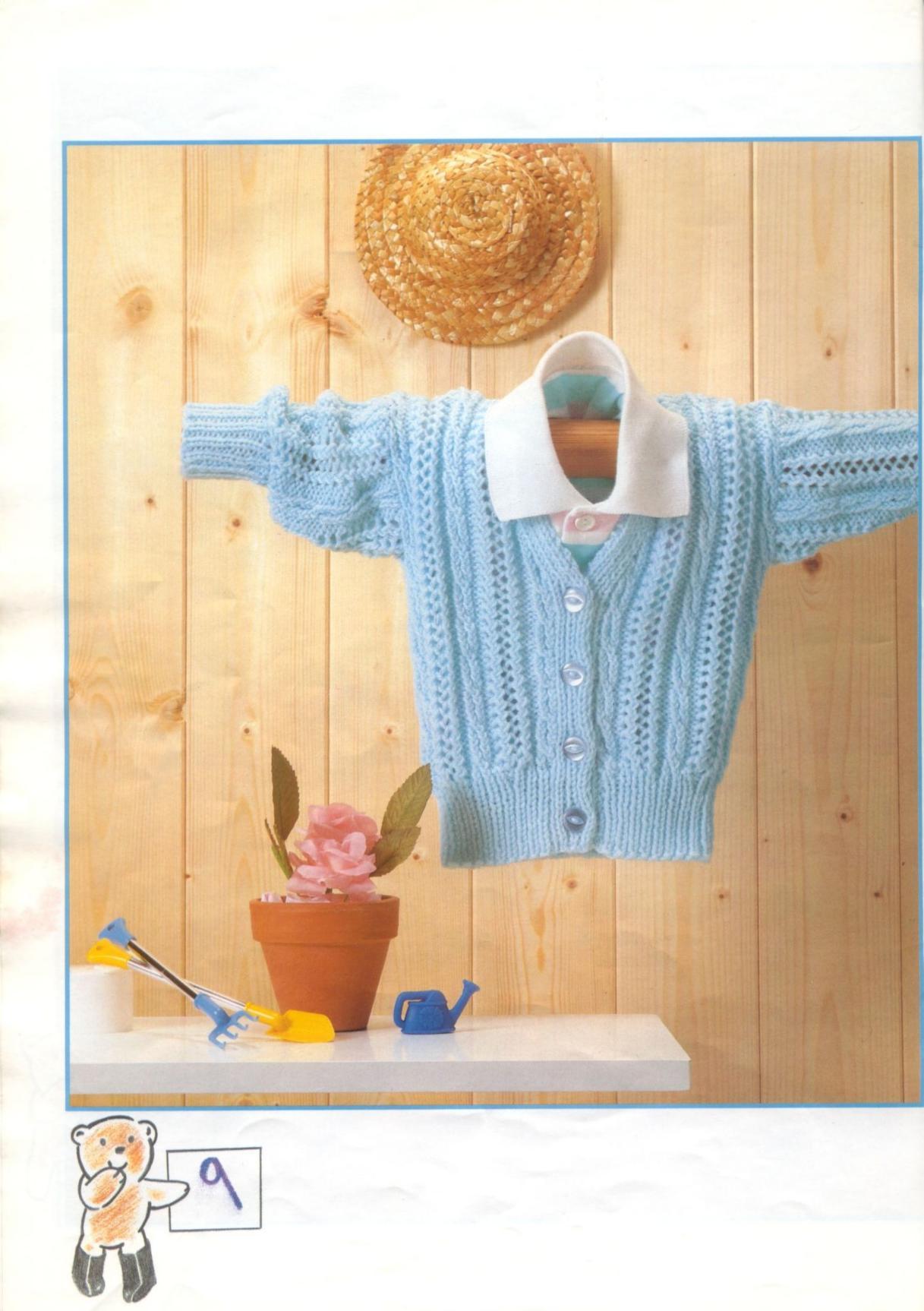 V Neck Lace Rib Baby Cardigan Knit Pattern