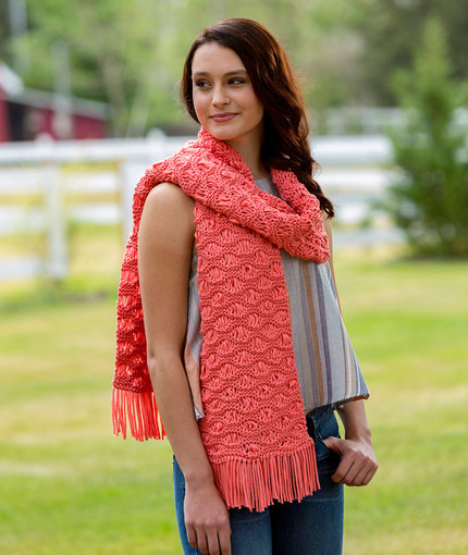 Wavy Drop-Stitch Scarf Free Knit Pattern