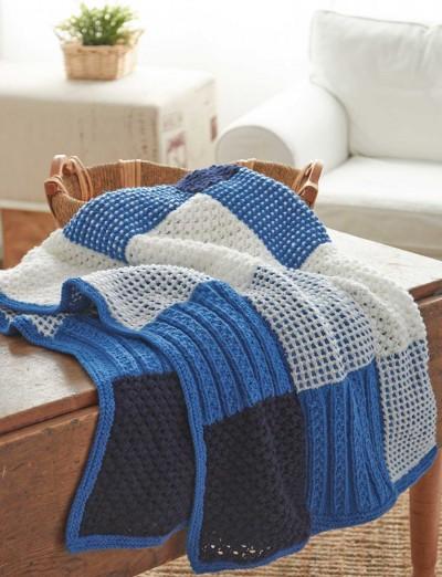 Textured Sampler Afghan Free Easy Knit Pattern