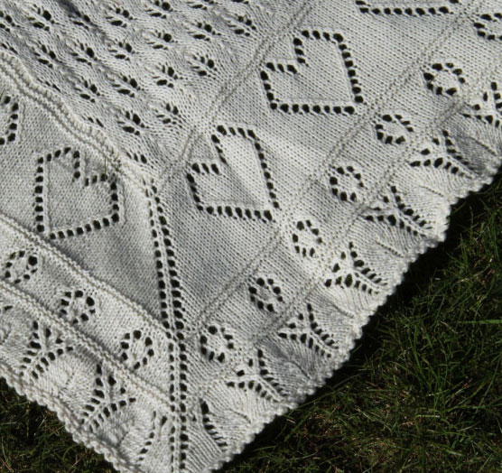 Lace Baby Blanket With Little Hearts Free Knit Pattern Knitting Bee