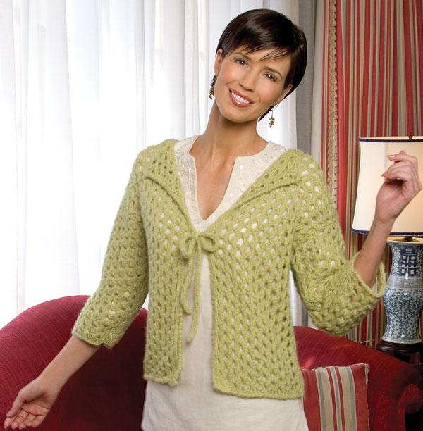 Mesh knit cardigan free knitting pattern