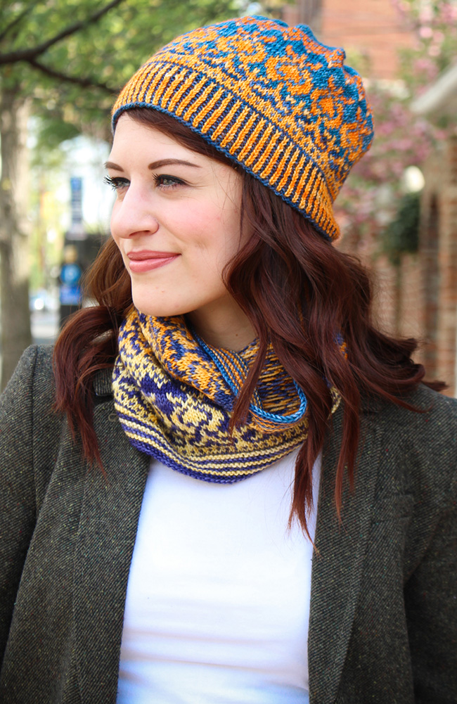 free fair isle hat and cowl knitting set