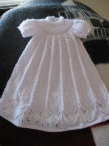 Cabled Yoke Christening Gown free knitting pattern