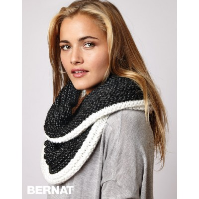 Contrast Ridged Cowl Free Easy Womens Knit Pattern Knitting Bee