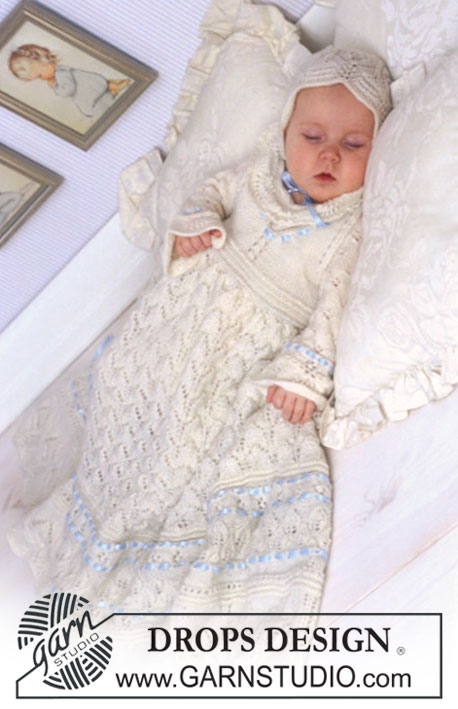 Drops Baby Free Christening Set Knitting Pattern
