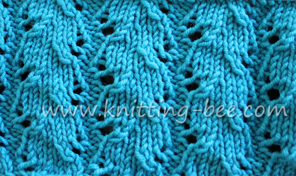 Free Ribbed Lace Knitting Stitch by Knitting Bee www.knitting-bee.com