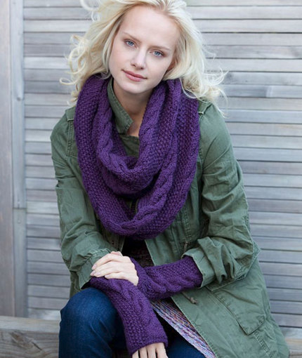 Infinity Trinity Cowl and Wristers Free Knitting Pattern