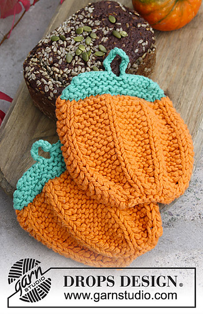 Roasted Pumpkin Free Potholder Knitting Pattern