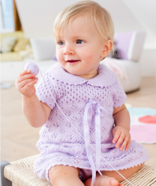 Sweet Lace Baby Dress Free Knitting Pattern Knitting Bee