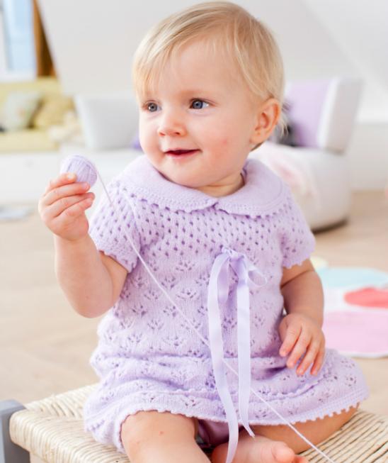 Sweet Lace Baby Dress Free Knitting Pattern