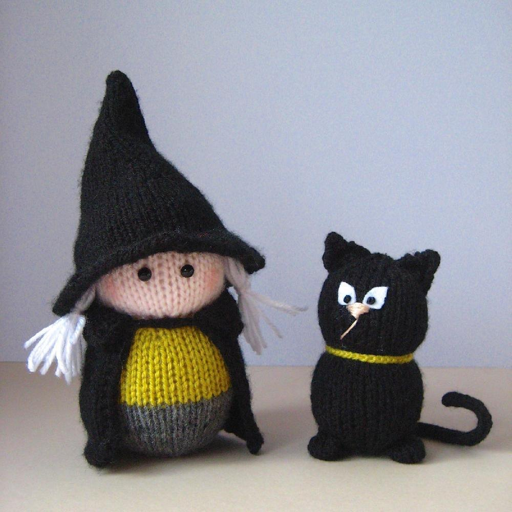 wanda-the-witch-and-her-cat-halloween-knitting-pattern ⋆ Knitting Bee