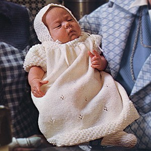 Baby Christening Dress and Set free knitting pattern