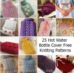 25 Knitting Pattern Hot Water Bottle Cover https://www.knitting-bee.com/