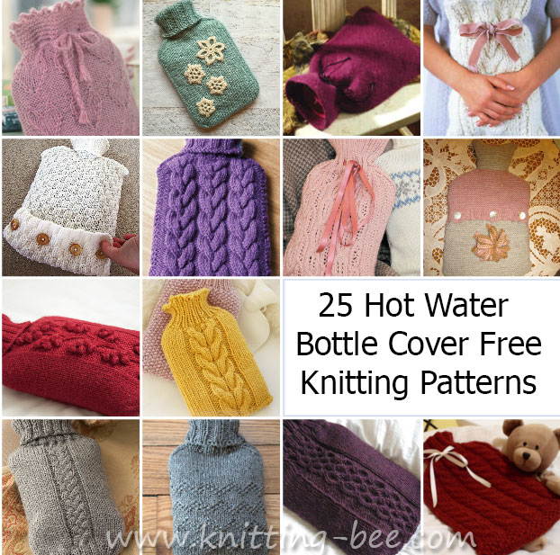 25 Knitting Pattern Hot Water Bottle Cover Knitting Bee