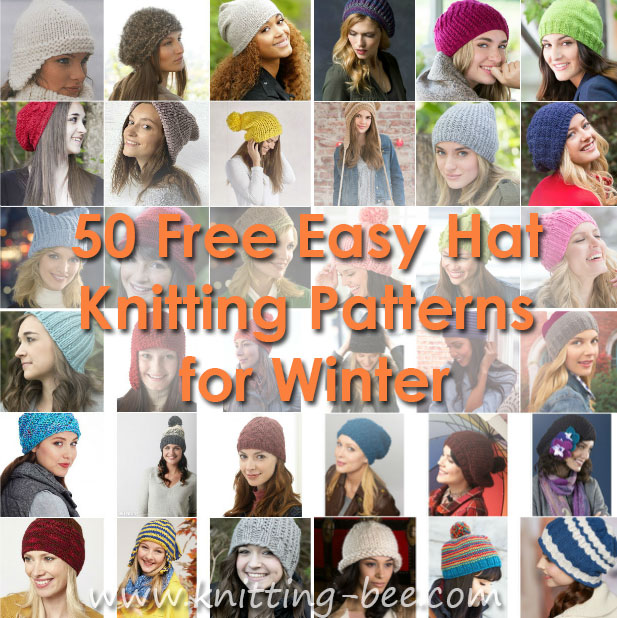 50 Free Easy Hat Knitting Patterns for Winter http://www.knitting-bee.com/