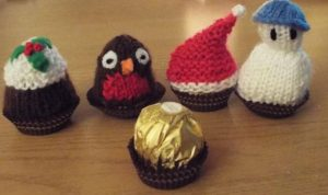 Christmas Knitting Patterns fit a Ferrero Rocher chocolate