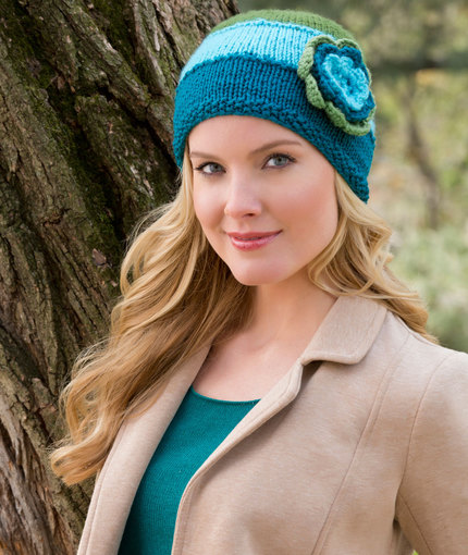 easy hat knitting pattern with flower