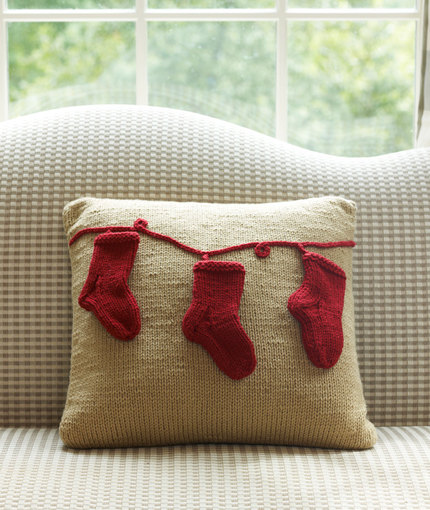 Holiday Pillow with Stockings Free Knitting Pattern