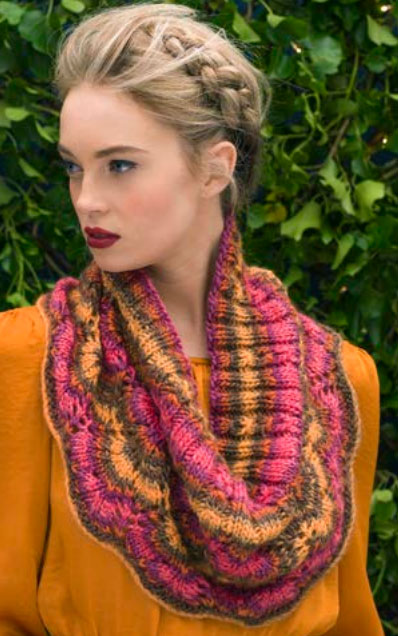 Spiced Punch Free Lace Cowl Knitting Pattern