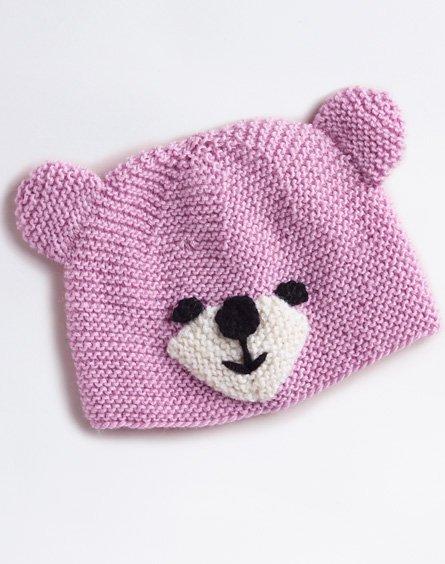 Merino 4 Ply Baby Beanie Hat with Bear Theme