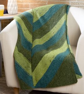 garter stitch chevron throw